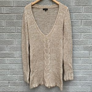 Express Deep V Cable knit Tunic Length Sweater